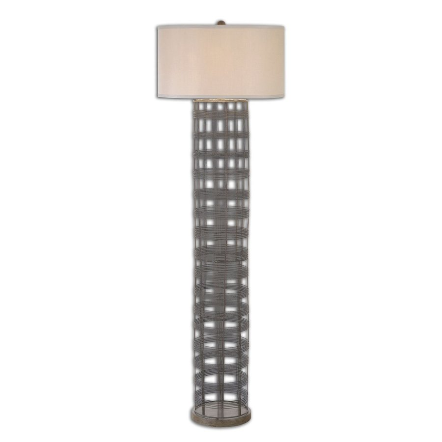 Global Direct Engel 66.5-in Dark Rustic Bronze Rotary Socket Floor Lamp with Linen Shade