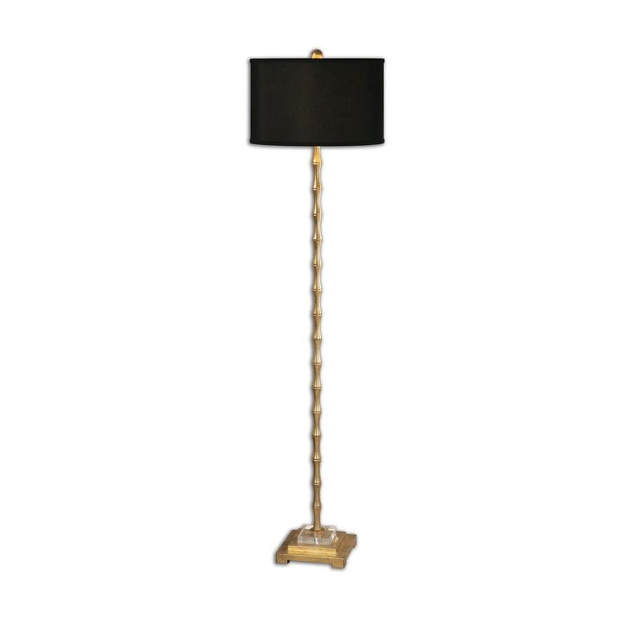 Global Direct Quindici 64.5-in Gold 3-way Floor Lamp with Linen Shade