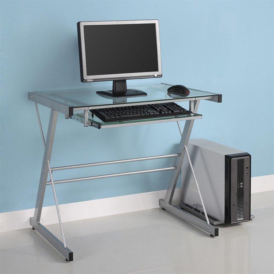 Walker Edison Contemporary Clear Glass Computer Desk