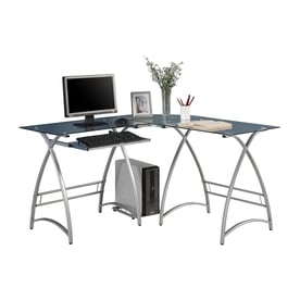Walker Edison Contemporary Clear Glass L-Shaped Desk