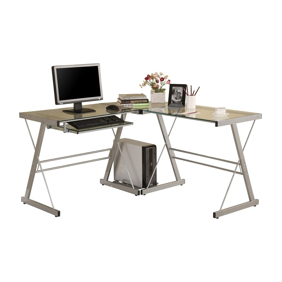 Walker Edison Contemporary Clear Glass L Shaped Desk