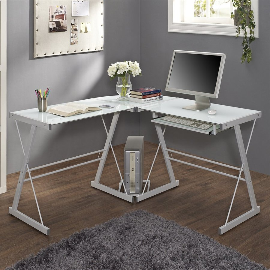 Walker Edison Contemporary White L-Shaped Desk