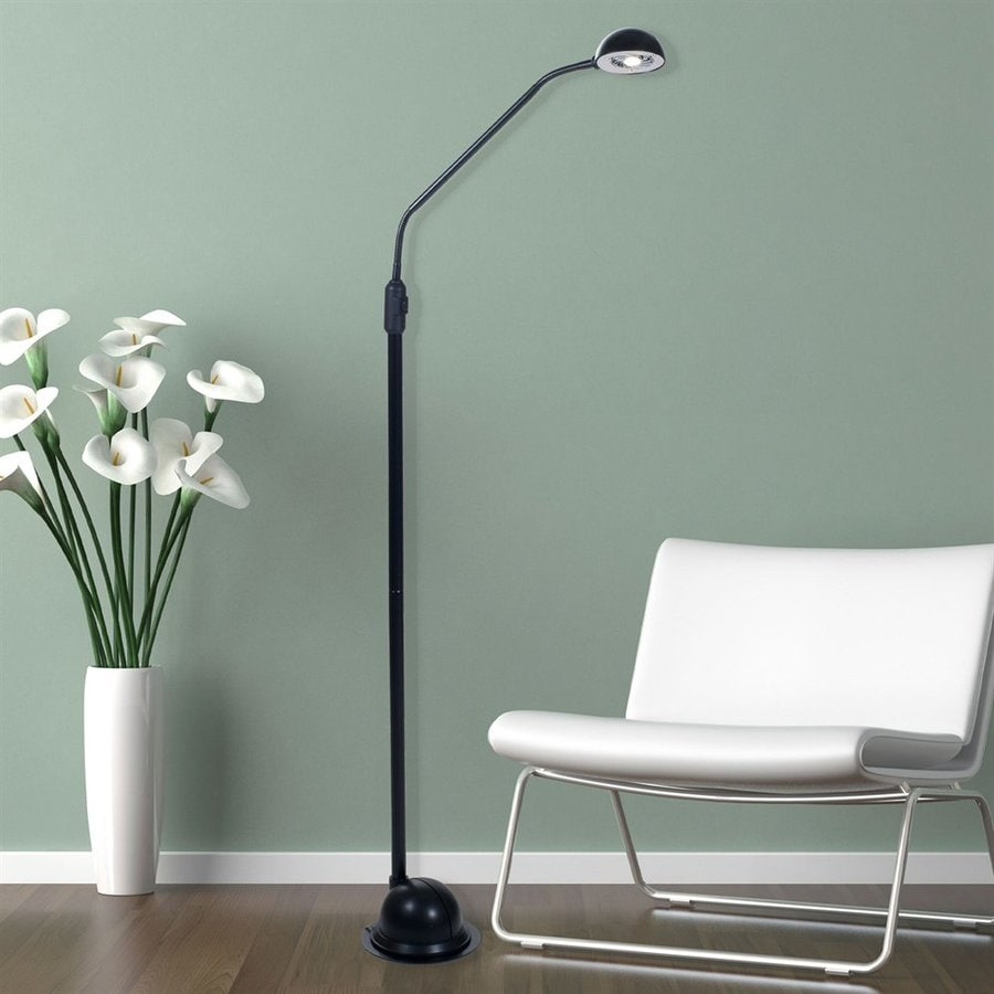Lavish Home 61-in Black LED Swing-Arm Floor Lamp with Plastic Shade