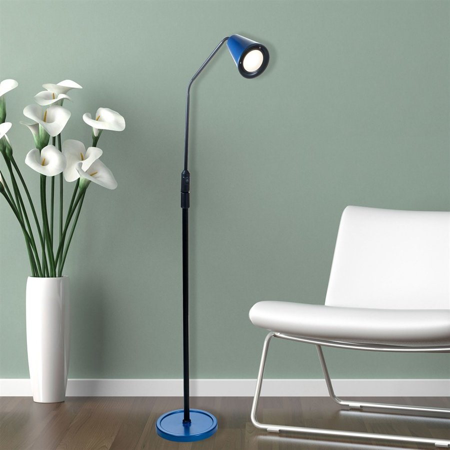 Lavish Home 66-in Blue LED Swing-Arm Floor Lamp with Plastic Shade