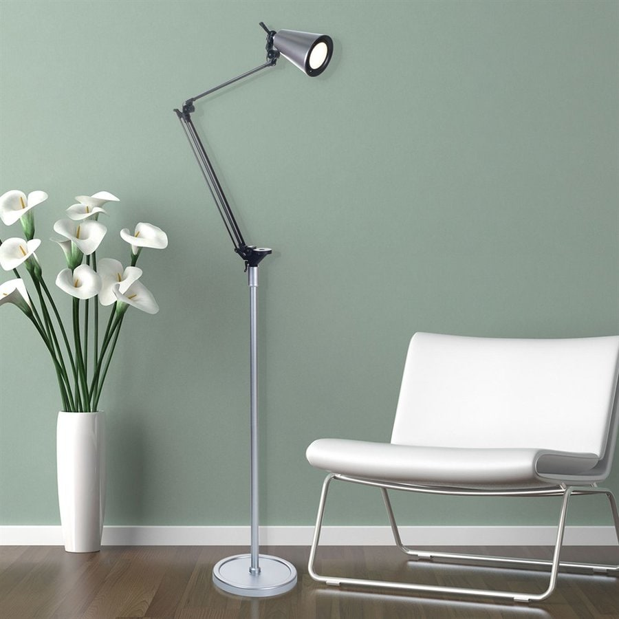 Lavish Home 70.5-in Silver LED Swing-Arm Floor Lamp with Plastic Shade