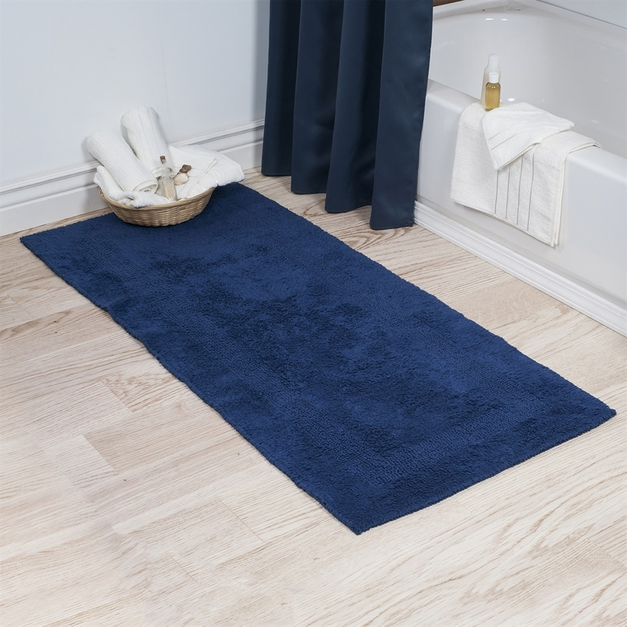 Rugs In Bathrooms: Shop Lavish Home 60-in L X 24-in W Navy Cotton Bath Rug At