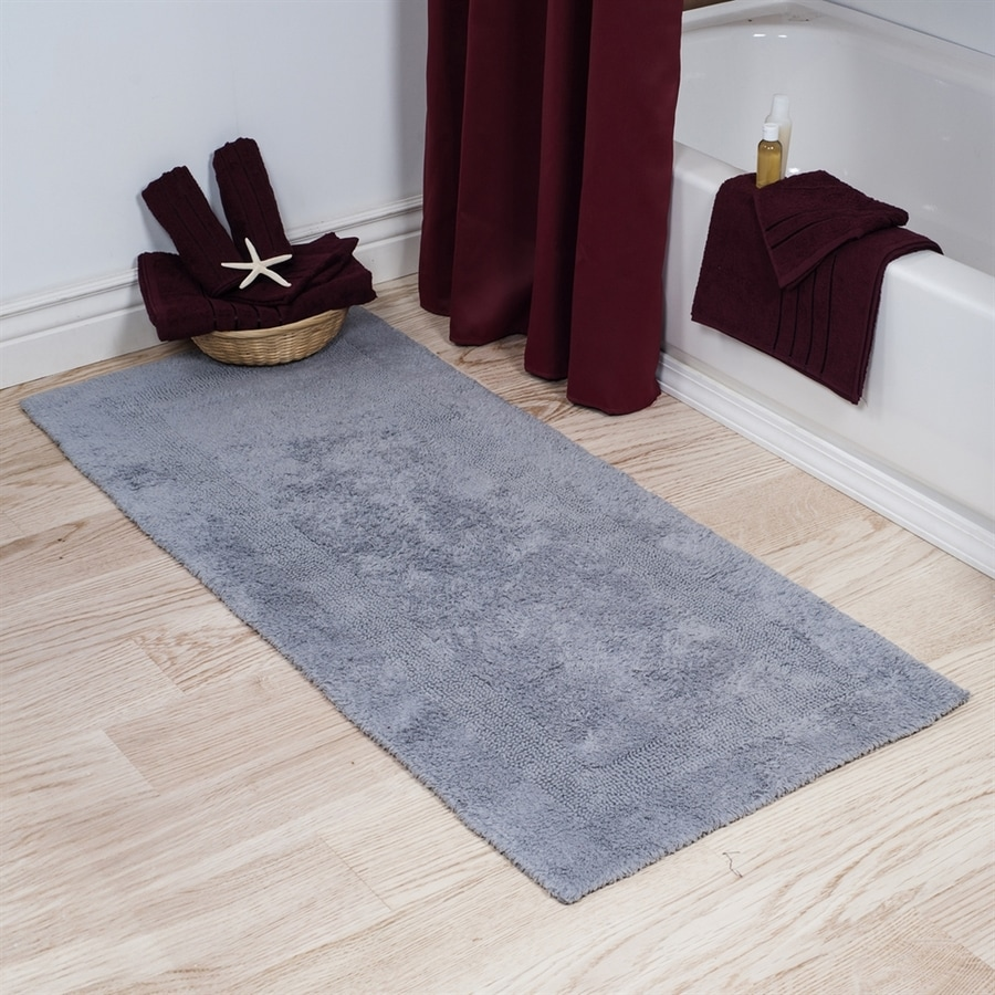 Shop Lavish Home 60-in L X 24-in W Silver Cotton Bath Rug At Lowes.com