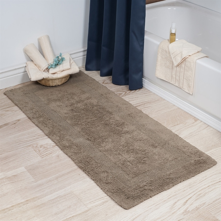 shop lavish home 60 in l x 24 in w taupe cotton bath rug at. Black Bedroom Furniture Sets. Home Design Ideas