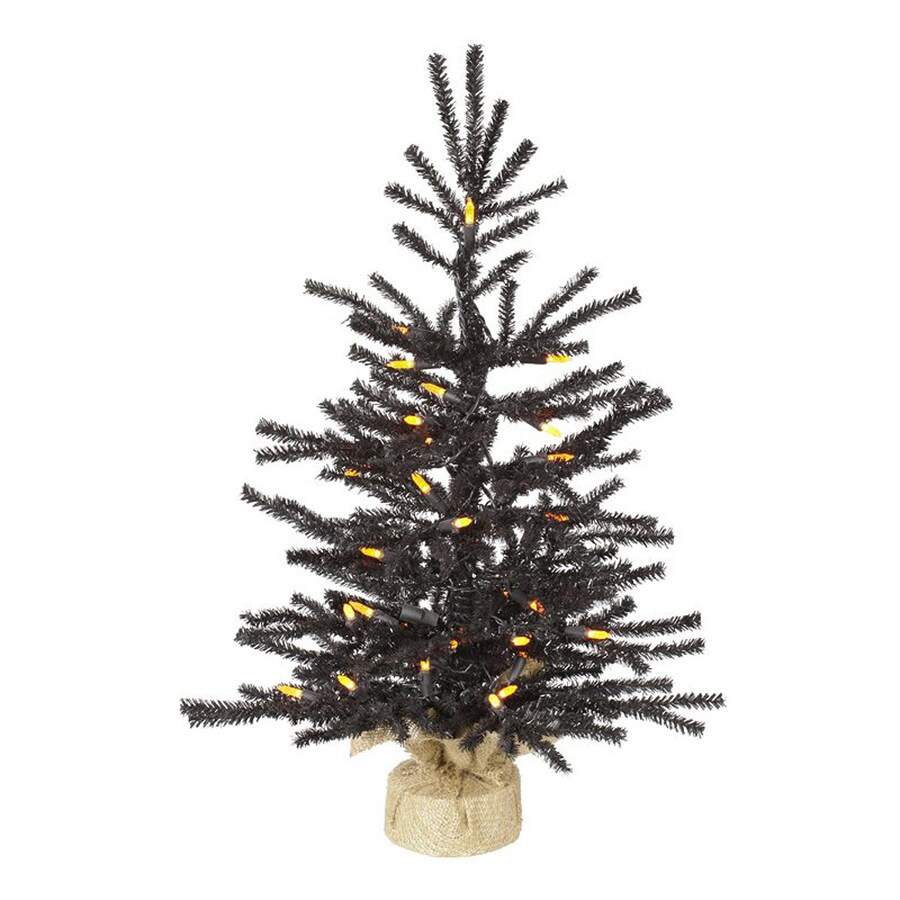 Northlight 2-ft Pre-Lit Whimsical Slim Black Artificial Halloween Tree with Orange LED Lights