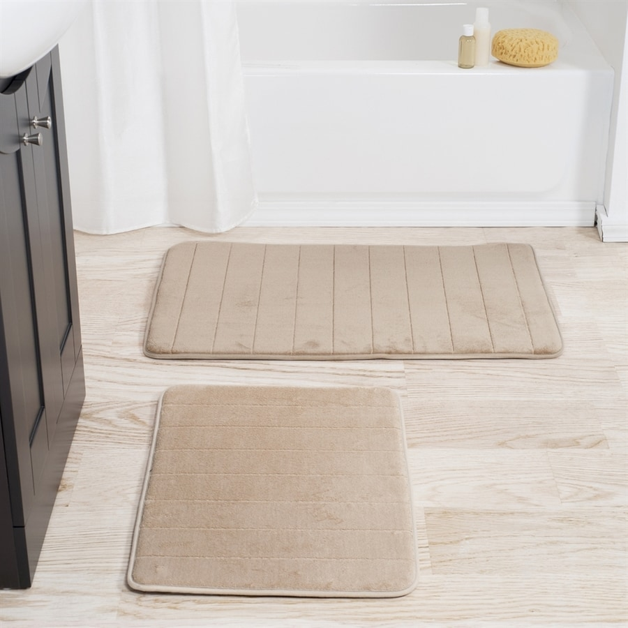 Lavish Home 32.25-in L x 20.25-in W Taupe Microfiber Memory Foam Bath Rug