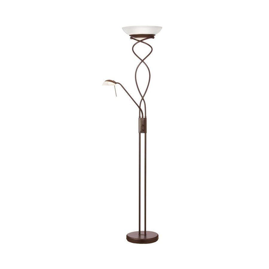 Dainolite Lighting 72-in Oil Brushed Bronze Rotary Socket Torchiere with Reading Light Floor Lamp with Glass Shade
