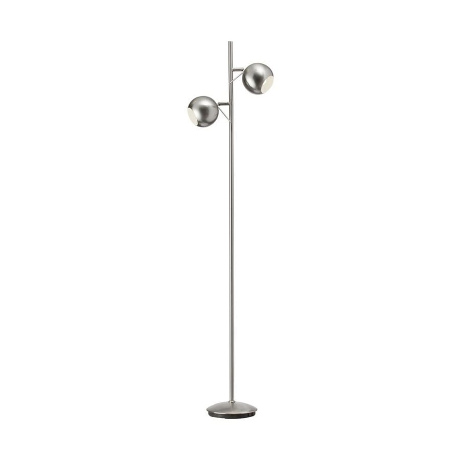 Dainolite Lighting 55 In Satin Chrome Foot Switch Tree Track Floor Lamp With Metal Shade