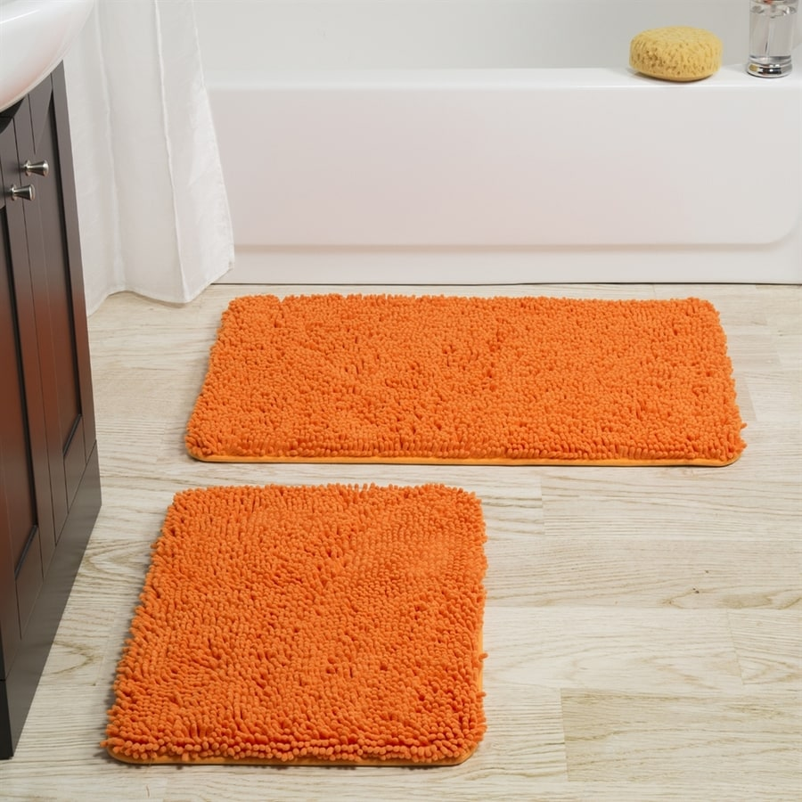 Lavish Home 32-in L x 21-in W Orange Polyester Memory Foam Bath Rug