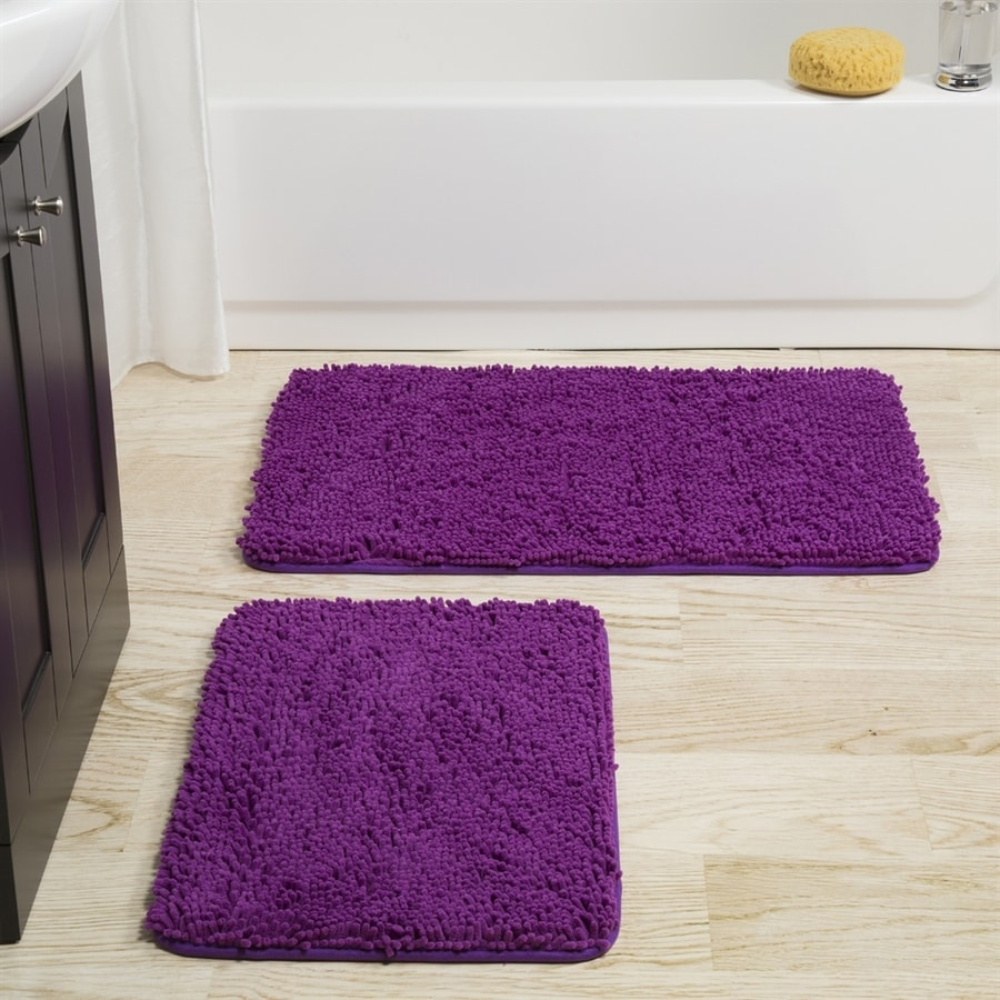 Lavish Home 32-in L x 21-in W Purple Polyester Memory Foam Bath Rug