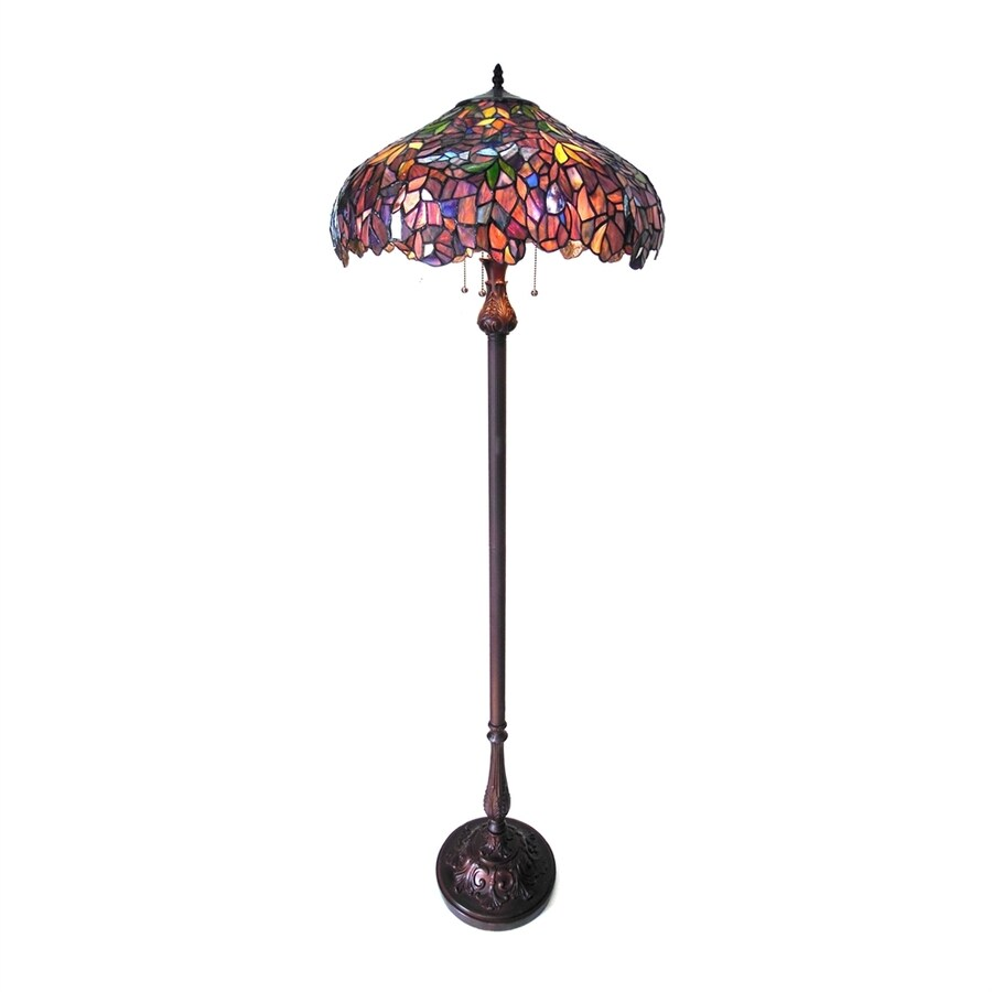 Chloe Lighting Wisteria 64 In Dark Antique Bronze Floor Lamp With Tiffany Style Shade