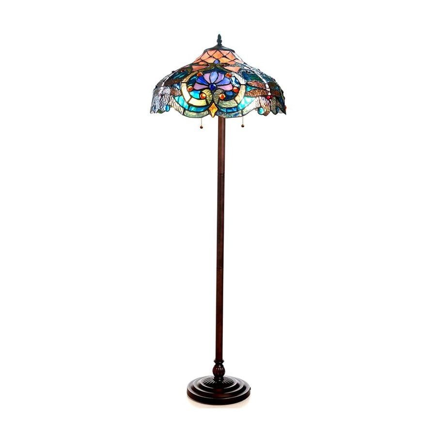 Chloe Lighting Lydia 62-in Dark Antique Bronze Floor Lamp with Tiffany-Style Shade