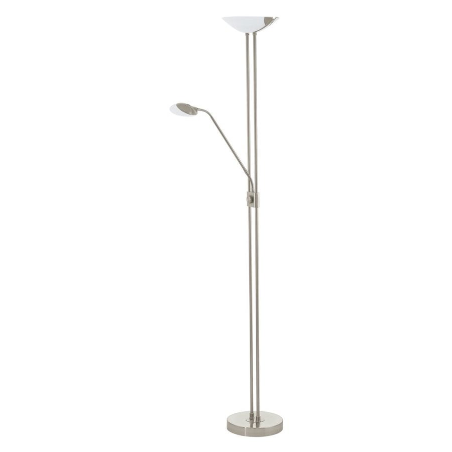 Eglo Baya 70 875 In Matte Nickel Led Rotary Socket Torchiere With Reading Light Floor Lamp With