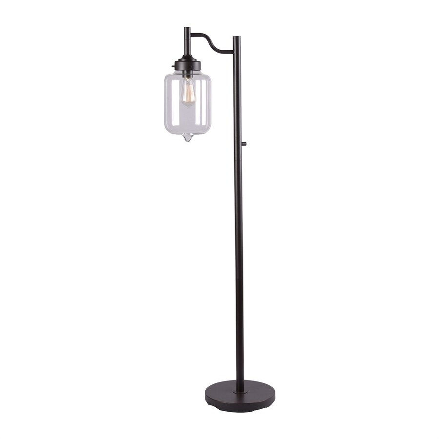 Kenroy Home Casey 57-in Oil Rubbed Bronze Downbridge Floor Lamp with Glass Shade