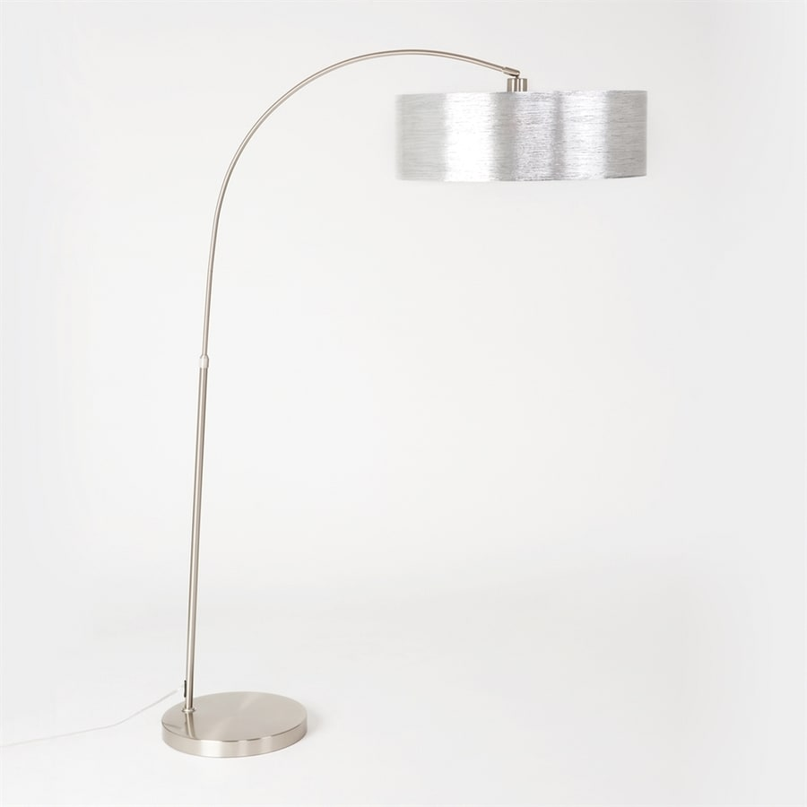 Shop yosemite home decor 75 in satin steel 3 way arc floor for Arc floor lamp with fabric shade