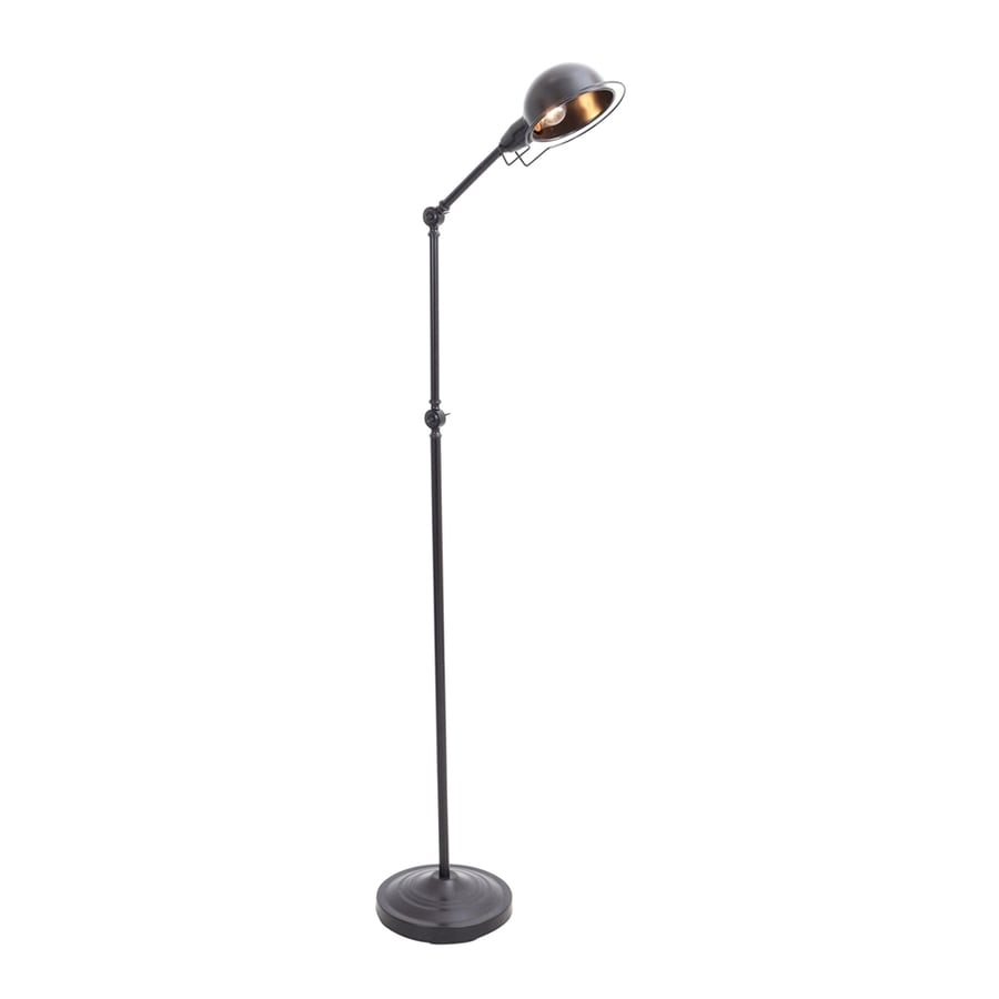 lumisource banks 64 in antique black foot switch swing arm floor lamp with metal shade at. Black Bedroom Furniture Sets. Home Design Ideas