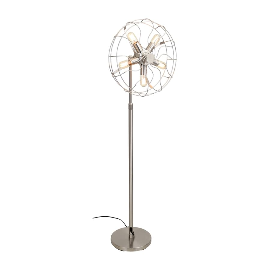 Lumisource Ozzy 62-in Satin Nickel Foot Switch Stick Floor Lamp with Metal Shade
