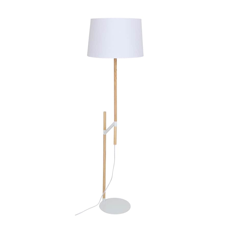 Shop lumisource 59 in medium brown swing arm floor lamp for Mainstays shelf floor lamp with tan linen shade brown
