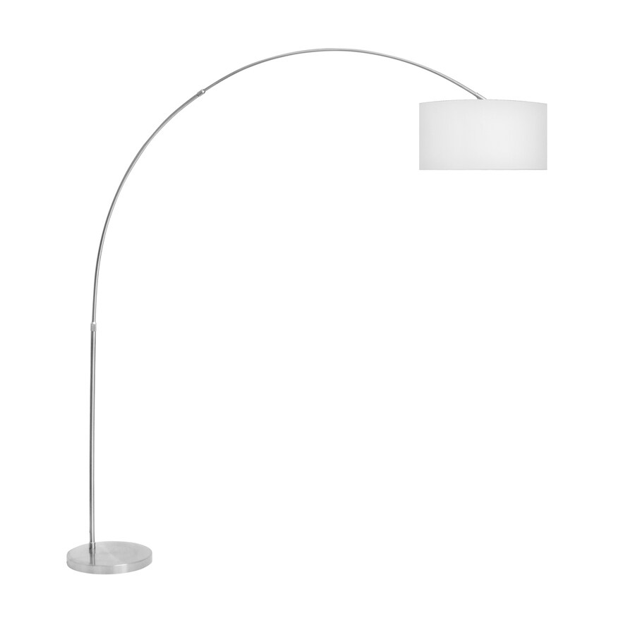 Lumisource 79.25-in Silver Foot Switch Arc Floor Lamp with Fabric Shade