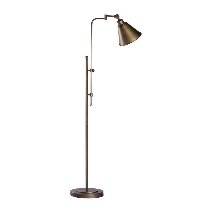 Zuo Modern Pure Rush 65-in Brushed Bronze Foot Switch Swing-Arm Floor Lamp with Metal Shade