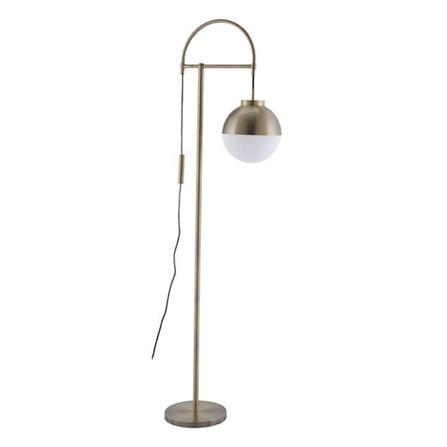 Zuo Modern Waterloo 68.9-in Brushed Brass Foot Switch Arc Floor Lamp with Glass Shade