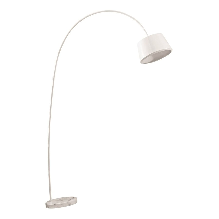 Fine Mod Imports Estal 70-in White Arc Floor Lamp with Metal Shade
