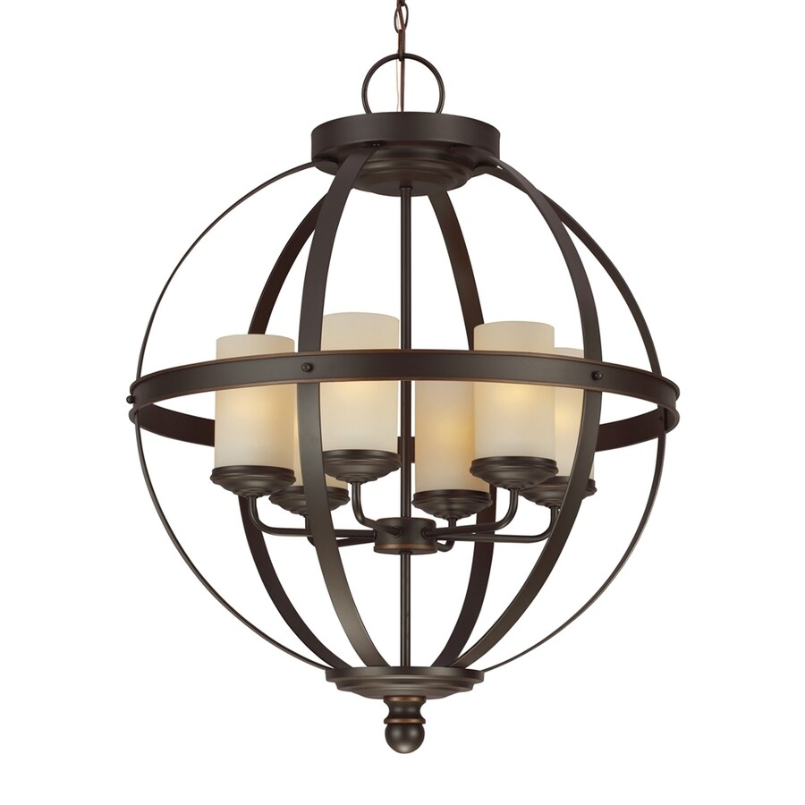 Sea Gull Lighting Sfera 24.5-in Autumn Bronze Mediterranean Single Tinted Glass Globe Pendant