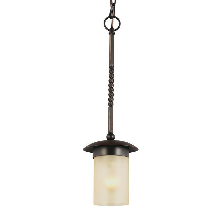 Sea Gull Lighting Trempealeau 6.25-in Roman Bronze Mediterranean Single Seeded Glass Lantern Pendant