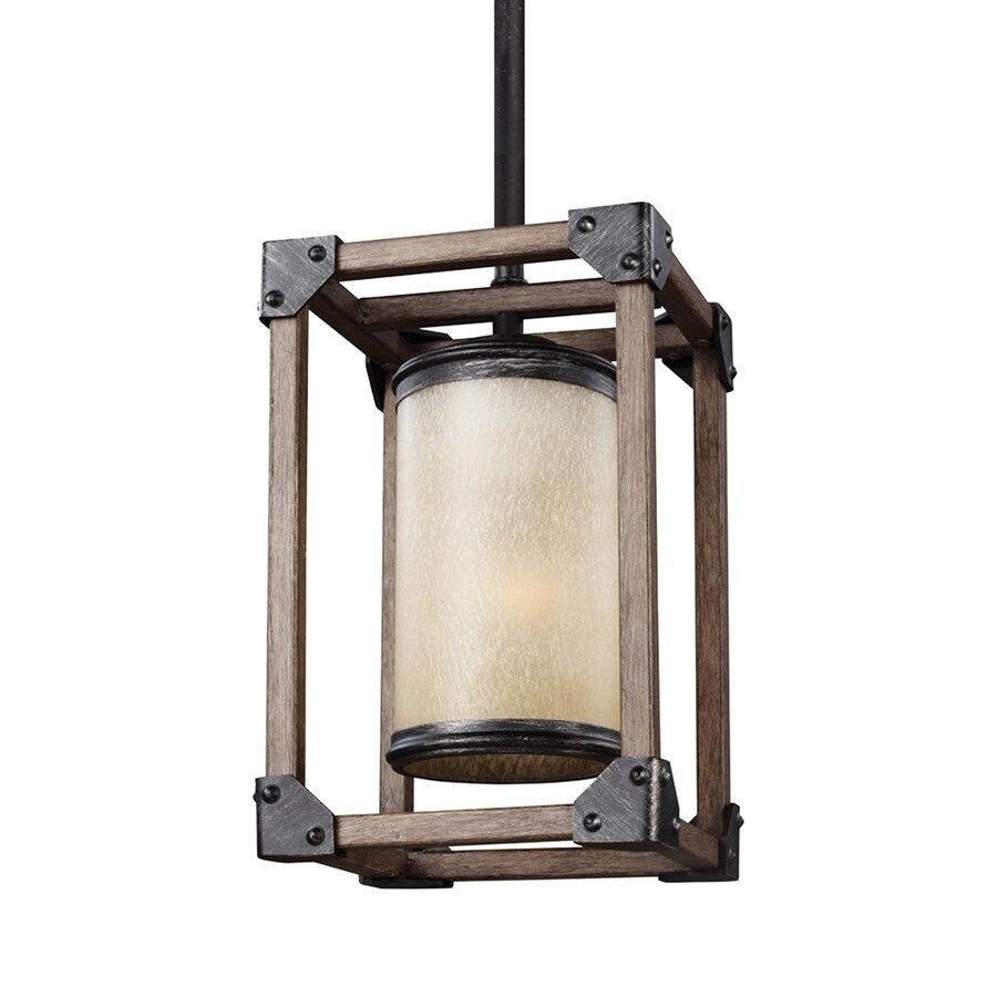 Sea Gull Lighting Dunning 6-in Stardust Rustic Single Seeded Glass Rectangle Pendant
