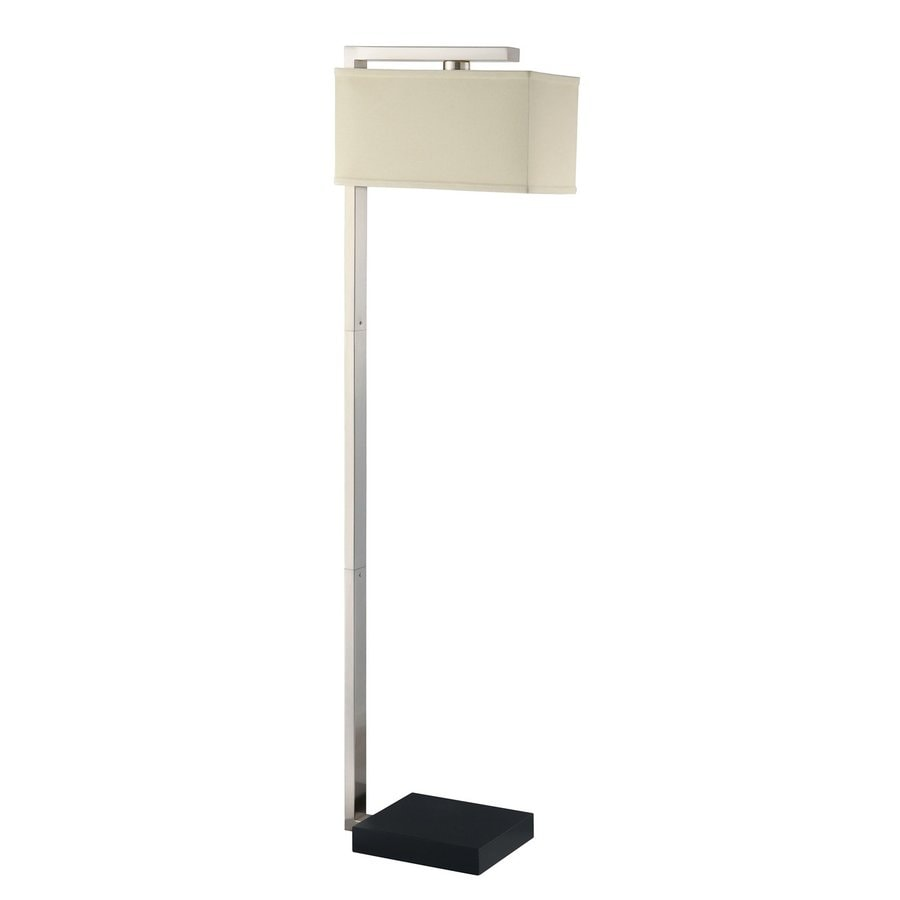 Coaster Fine Furniture 66-in Silver/White Floor Lamp with Fabric Shade