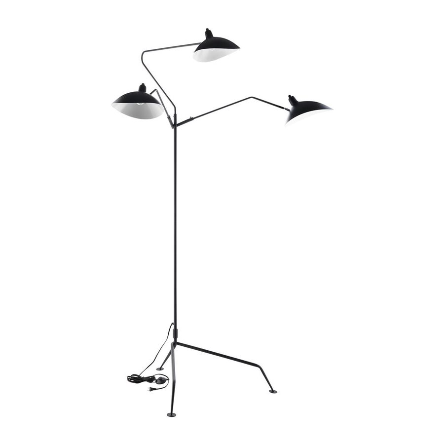 Modway View 82.5-in Multi-Head Black Foot Switch Stainless Steel Floor Lamp with Metal Shade