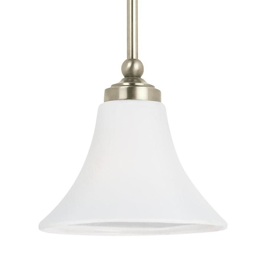 Sea Gull Lighting Montreal 7.75-in Antique Brushed Nickel Single Etched Glass Bell Pendant