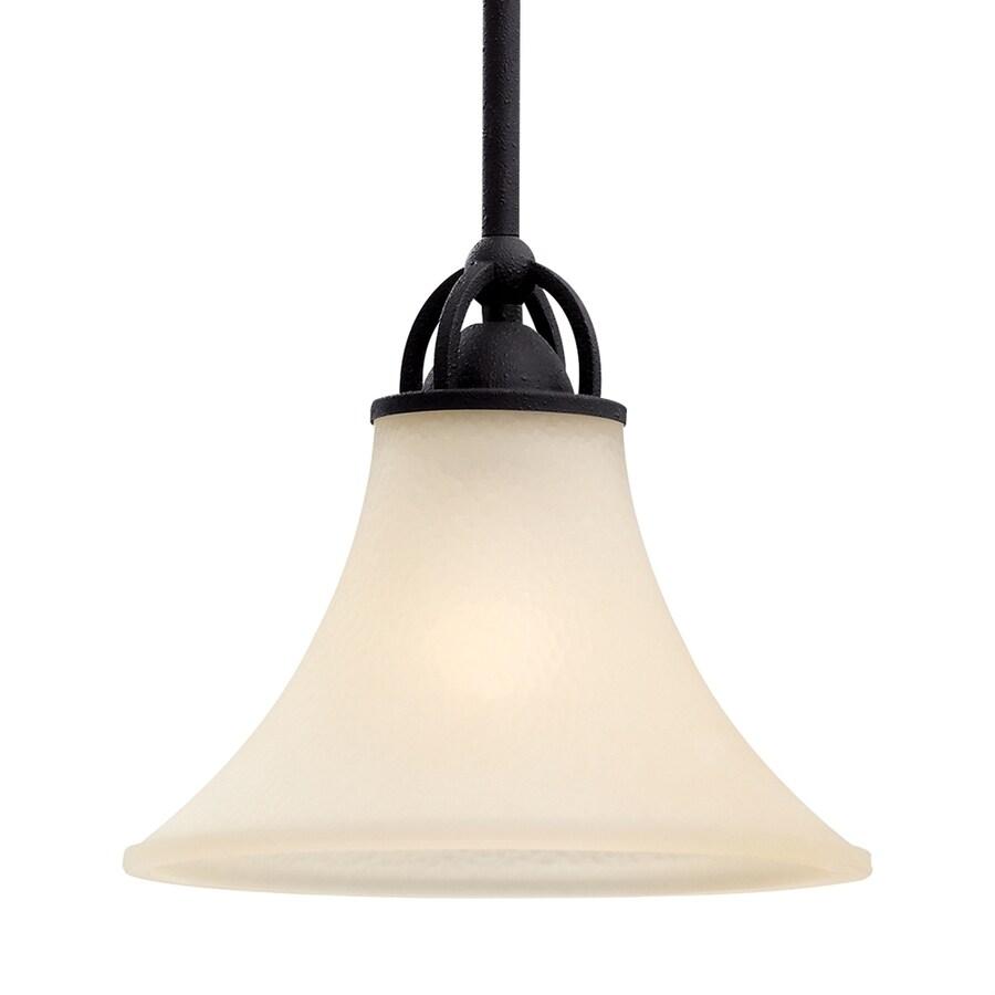 Sea Gull Lighting Somerton 9-in Blacksmith Single Tinted Glass Bell Pendant