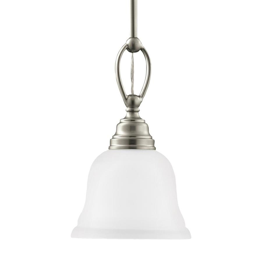 Sea Gull Lighting Wheaton 7-in Brushed Nickel Single Etched Glass Bell Pendant