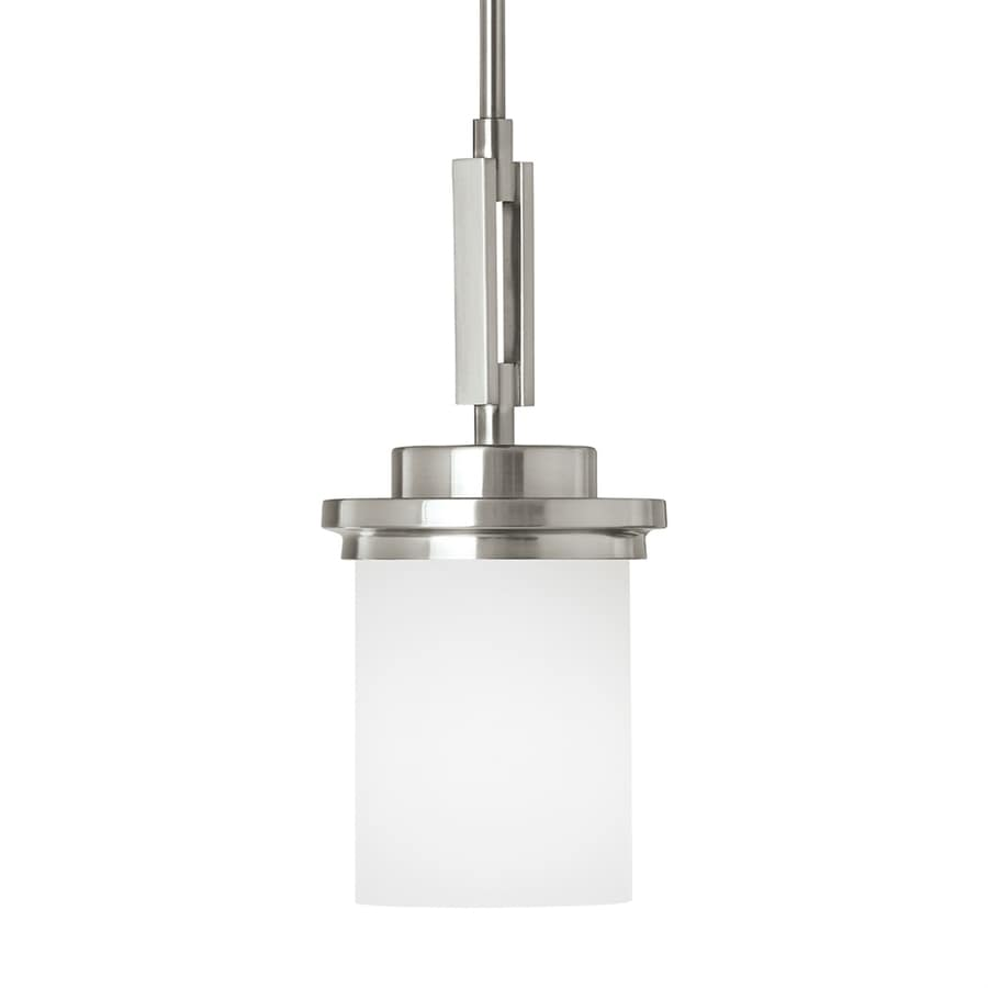 Sea Gull Lighting Winnetka 6.25-in Brushed Nickel Single Etched Glass Cylinder Pendant