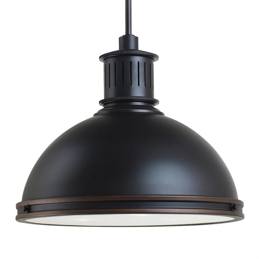 Sea Gull Lighting Pratt Street 16-in Autumn Bronze Industrial Single Textured Glass Dome Pendant