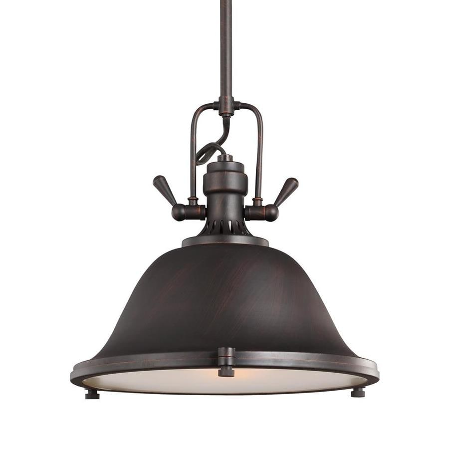 Sea Gull Lighting Stone Street 13.25-in Burnt Sienna Industrial Single Etched Glass Warehouse Pendant