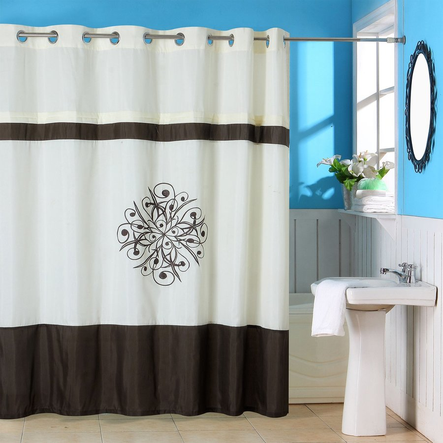 Merveilleux Lavish Home Polyester Embroidered/Cream/Brown Floral Shower Curtain 72 In X  72