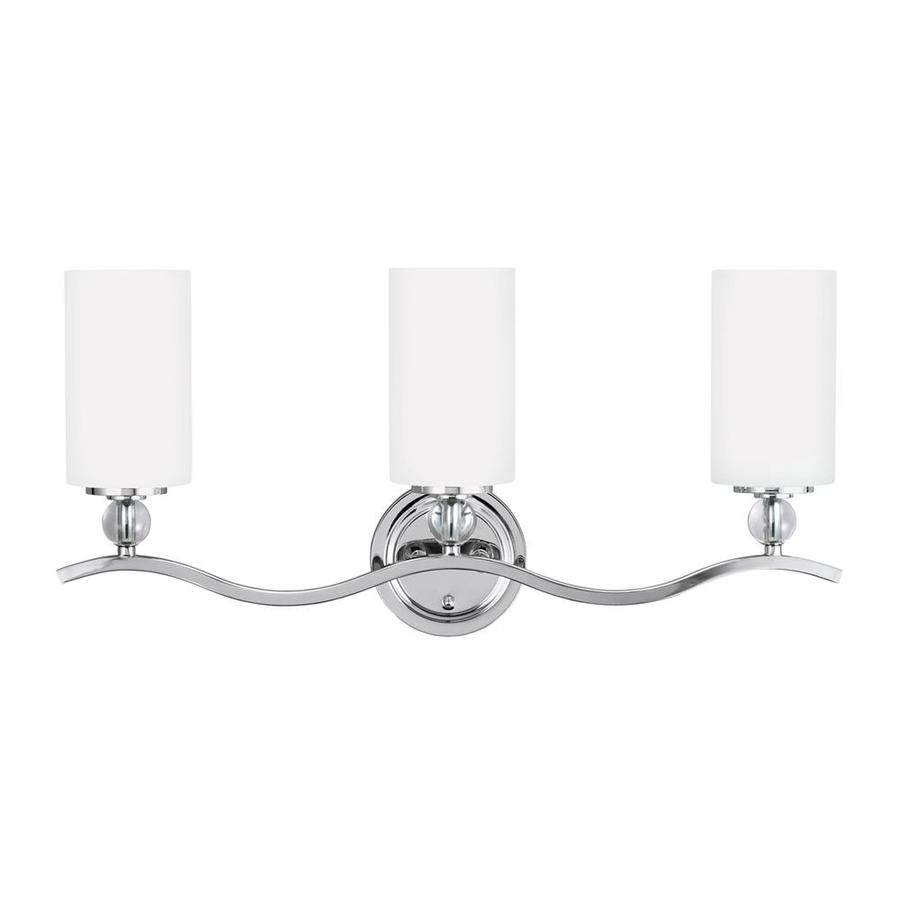 Sea Gull Lighting Englehorn 3-Light 11.75-in Chrome/optic crystal Cylinder Vanity Light ENERGY STAR