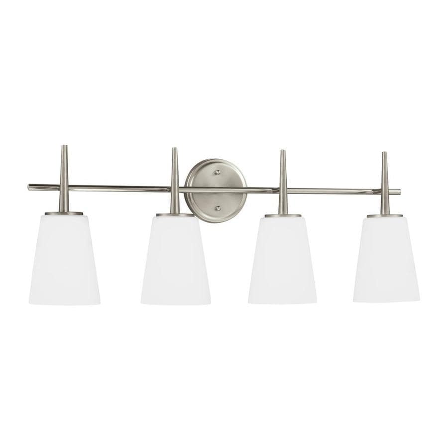 Sea Gull Lighting Driscoll 4-Light 11.75-in Brushed nickel Cone Vanity Light ENERGY STAR