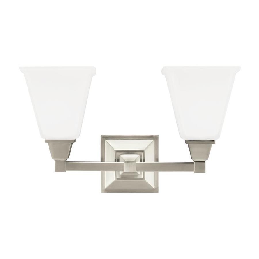 Sea Gull Lighting Denheim 2-Light 10-in Brushed nickel Bell Vanity Light ENERGY STAR