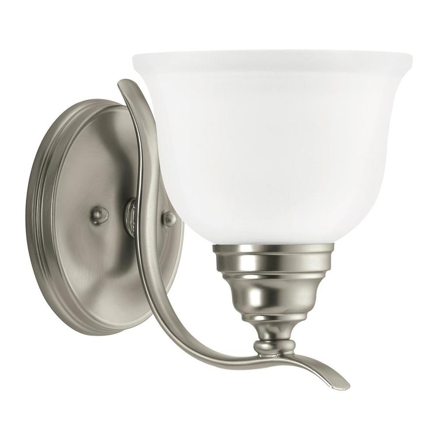 Sea Gull Lighting 44237 962 3 Light Brushed Nickel Bathroom Vanity Wall Fixture: Shop Sea Gull Lighting Wheaton 1-Light 7.75-in Brushed Nickel Bell Vanity Light ENERGY STAR At
