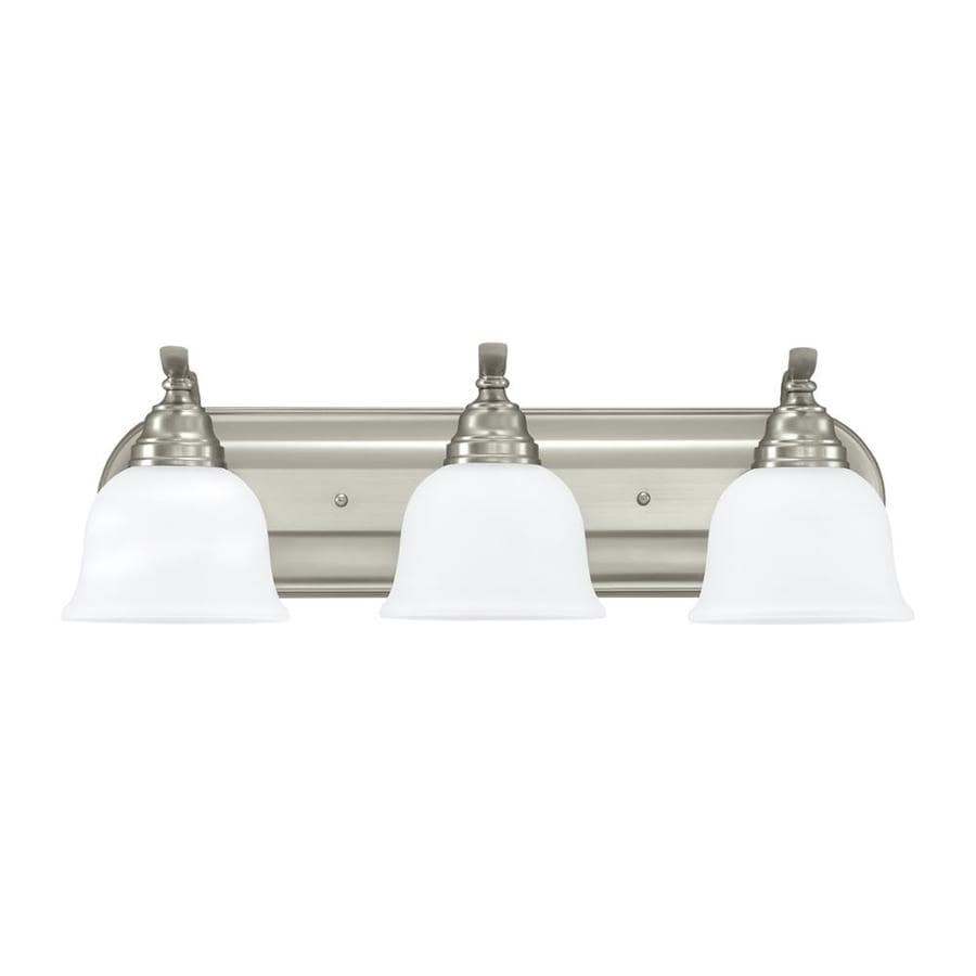 Sea Gull Lighting 44237 962 3 Light Brushed Nickel Bathroom Vanity Wall Fixture: Shop Sea Gull Lighting Wheaton 3-Light 7.75-in Brushed Nickel Bell Vanity Light Bar ENERGY STAR