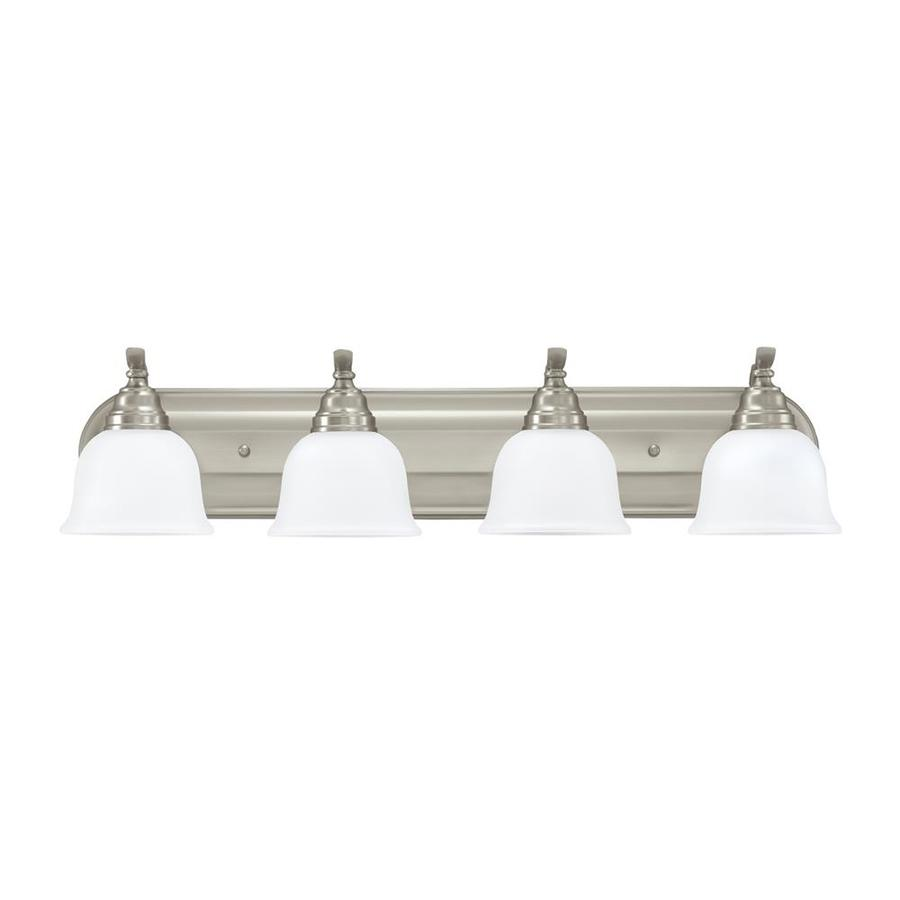 Sea Gull Lighting 44237 962 3 Light Brushed Nickel Bathroom Vanity Wall Fixture: Shop Sea Gull Lighting Wheaton 4-Light 7.75-in Brushed Nickel Bell Vanity Light Bar ENERGY STAR