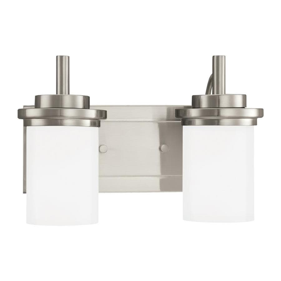 Sea Gull Lighting 44237 962 3 Light Brushed Nickel Bathroom Vanity Wall Fixture: Shop Sea Gull Lighting Winnetka 2-Light 14-in Brushed Nickel Cylinder Vanity Light ENERGY STAR