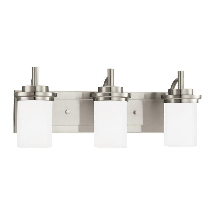 Sea Gull Lighting Winnetka 3-Light 9.25-in Brushed nickel Cylinder Vanity Light ENERGY STAR